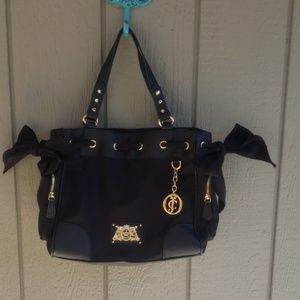 Black Juicy Couture purse bag authentic gold accen